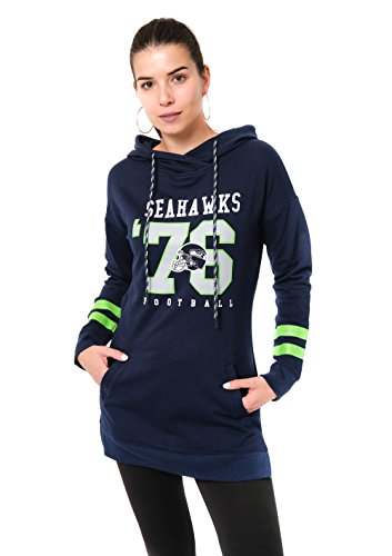 (Icer Brands NFL Seattle Seahawks Women's Tunic Hoodie Pullover Sweatshirt Terry, X-Large, Navy)