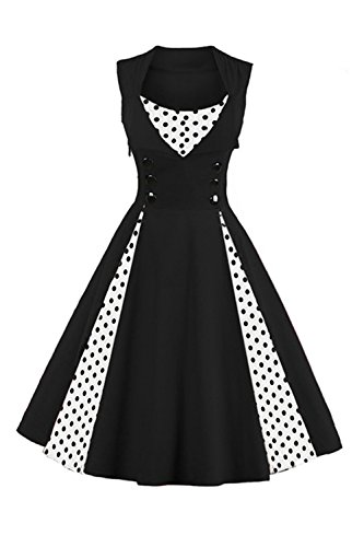 Women Tea Dress Retro White Polka Dot Vintage Cocktail Dress-2XL ()