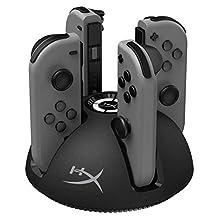 HyperX ChargePlay Quad - Estación de Carga para controles Joy-Con para Nintendo Switch con indicadores LED, Pokemon, Mario Party, Super Mario Odyssey, SuperSmash Bros, Zelda, Splatoon (HX-CPQD-U)