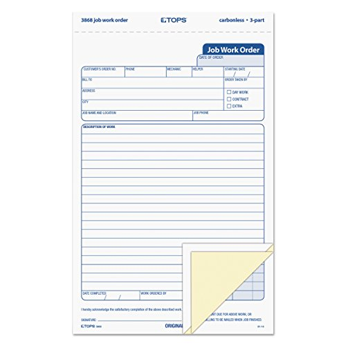 (TOPS 3868 Snap-Off Job Work Order Form, 5 2/3