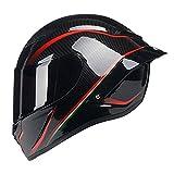 Woljay Full Face Motorcycle Helmet Racing Helmet Motocross Off Road Moto Street Bike Helmets (M, Carbon Fiber Red u Black Gloss)