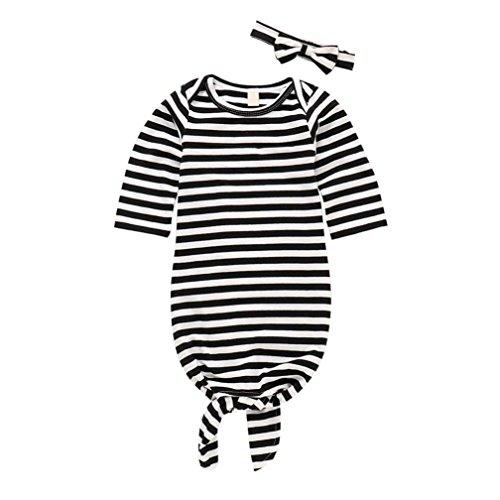 (SUNTEAMO Newborn Infant Baby Long Sleeve Pajamas Striped Sleeping Swaddle Wrap Outfit Set (Black, 80))