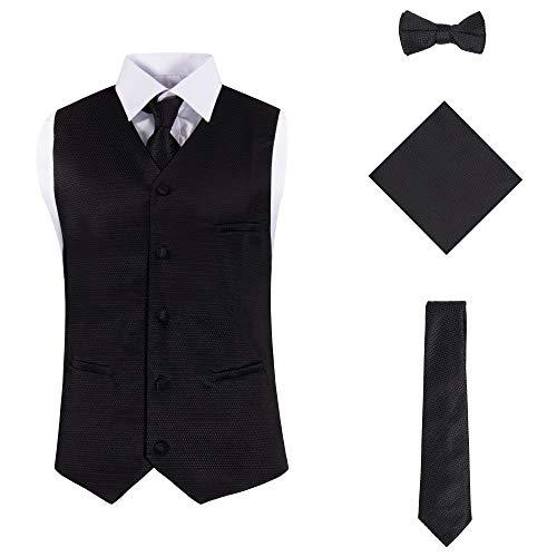 (Vittorino Mens 4 Piece Formal Vest Set Combo with Tuxedo Vest Tie Bow Tie and Handkerchief, Black Texture, XX-Large)