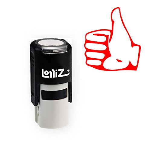 LolliZ Stamp THUMBS UP (Contour) Round Self-Inking Teacher Stamp with Lid. RED Color, Laser Engraved Rubber, Contoured Design