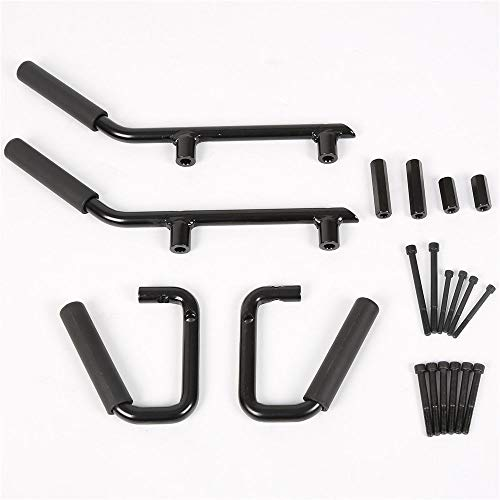 (25 Hours 4pcs Front & Rear Roll Grab Handles Bars Solid Steel Fit 07-17 Jeep Wrangler JK)
