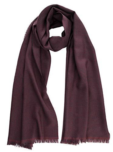 Elizabetta Men's Italian Woven Wool Scarf, Burgundy Prince of Wales Plaid