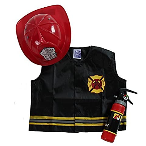 Kids Fire Fighter Accessory Dress-Up Set (Vest, Helmet and Toy Extinguisher) (Fire Chief Birthday)
