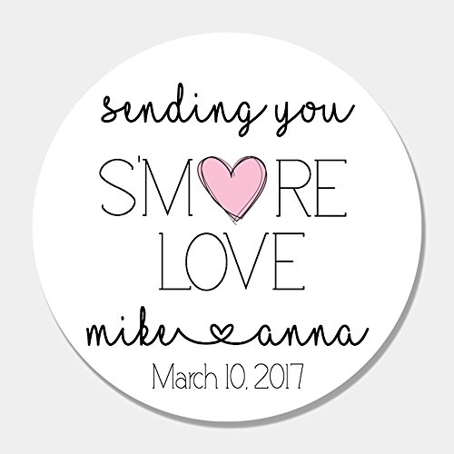 40 Customized S'More Love Wedding Favor Label Stickers - Wedding Favor Tags - S'more Favor (Smores Favors)