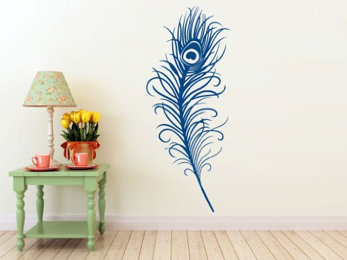 Large Peacock Feather- Wall Decal (Dark Blue - Matte, Measures: 42