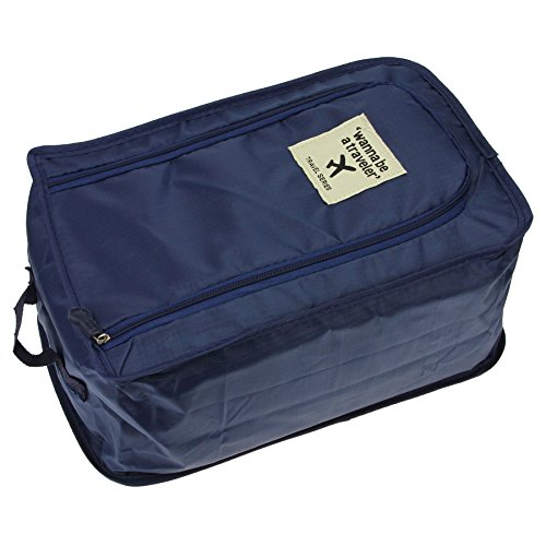 Mesh Golf Pouch (BXT Portable Waterproof Shoes Bag Organizer Storage Pouch Pocket Packing Cubes Handle Nylon Zipper Bag for Travel(Navy))