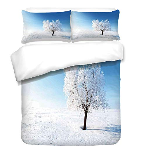 3Pcs Duvet Cover Set,Winter Decorations,Single Tree on Snow Cover Field with Vibrant Sky Blizzard Frozen Concept,Blue White,Best Bedding Gifts for (Images Madison Madison Single)