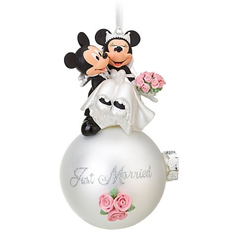 Disney Parks Just Married Mickey and Minnie Wedding Bride and Groom Glass Ball Ornament