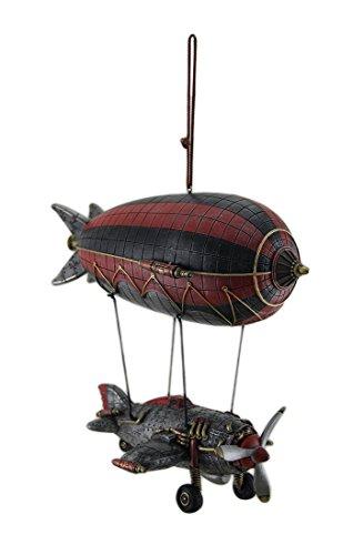 [Steampunk Airship w/Propeller Airplane Gondola Hanging Statue] (Steampunk Decorations)