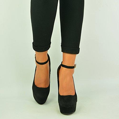negro con Sandalias cuña Fashion mujer Cucu Xxawfqq