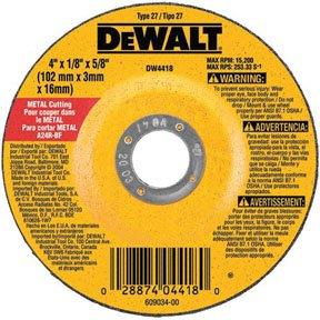 DEWALT DW4514B5 4-1/2-Inch by 1/4-Inch by 7/8-Inch Metal Grinding Wheel - 10 Pack ()