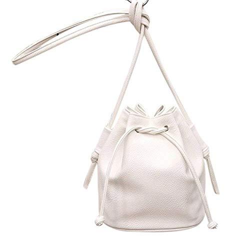 Moontang 2017 donne calde di vendita borsa piccola forma secchiello donne borse a tracolla borse a tracolla in pelle pu borse a tracolla in pelle femminile (Colore : Grigio, Dimensione : -) Bianca