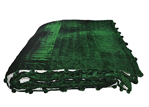 Amore Beaute Handcrafted Velvet Cotton Quilt | Emerald Green Ivory Blanket | Pick Stitch Bedspread (68x88 Inches),Luxury