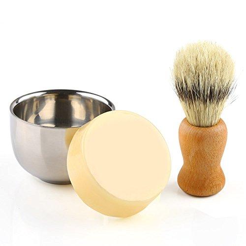 Anbbas Shaving Set, 3in1 Barber Shaving Brush Boar Bristle Hair Wood Handle with Shaving Mug 2 Layers Stainless Steel and Goat Milk Shaving Soap 100g Shave Kit for Men (Milk Shaving)
