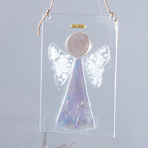 J Devlin Orn 236 Clear Fused Glass Angel Ornament or Sun Catcher (White Iridized Glass Stained)