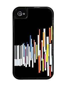 Colorful Piano Keys Running Black 2-in-1 Protective Case with Silicone Insert for Apple iPhone 4 / 4S