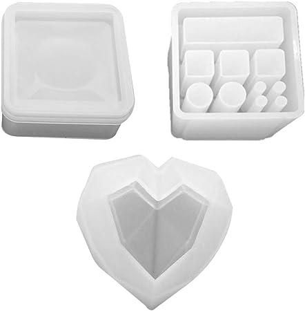 Ycncixwd - 3 Piezas/Juego de pintalabios DIY, Caja de Almacenamiento Hexagonal, Forma de Cristal, epoxy, Espejo, decoración de Mesa Hecha a Mano, artesanía, moldes de Silicona: Amazon.es: Hogar
