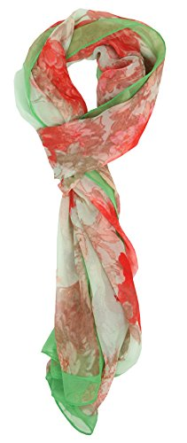 Love Lakeside-Modern, Lightweight Chiffon Silk Floral & Graphic Print Accent Scarves 1560 Green Chiffon Oblong Scarf
