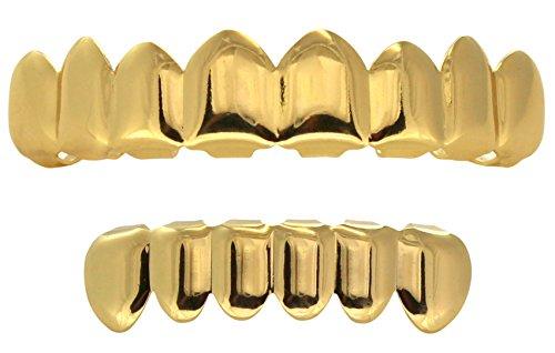 NewAgeBling Grillz Set 8 Teeth Top 6 Bottom 14k Gold Plated Grills w/Molds Hip Hop Mouth ()