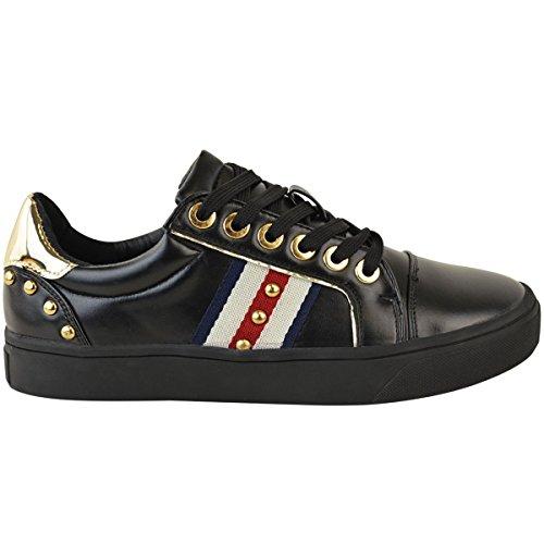 cuir rouge Faux plates skate femme sneakers Baskets pour sport style noir foncé S8gZnqxC