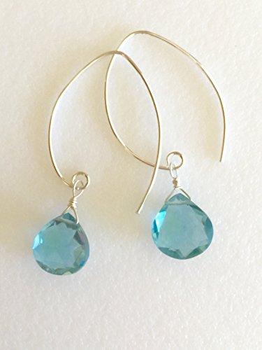 Aquamarine Earrings, March Birthstone, Aqua Blue Briolettes, Aquamarine Heart Briolettes, Sterling Silver, 14K Gold Fill, Gemstone - Heart Briolette