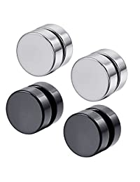 Konov Jewelry Mens Stainless Steel 2 Pairs Round Magnetic Stud Earrings Set, Silver Black, with Gift Bag, C24980