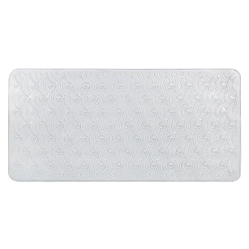 Richards Homewares Scalloped Bath Tub Mat - Extra Long - Super Soft Vinyl - Machine Washable - Non Slip-Elegant Modern Design-Hotel and Spa Like, Bubbly Comfort - Clear Color - 32.68 x 15.75 x .76