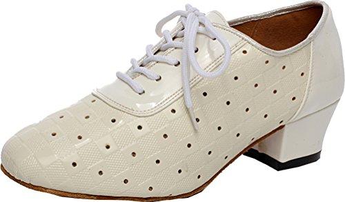 Abby Q-6223 Donna Comfort Pratica Latino Tango Rumba Cha-cha Block Tallone Atletica Pu Dance-scarpe Pelle