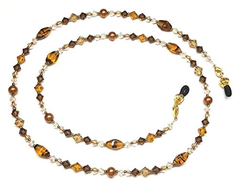 Smoked Topaz/Colorado Topaz Crystal & Copper Pearl Tortoise Eyeglass Chain - Copper Crystal Bicone