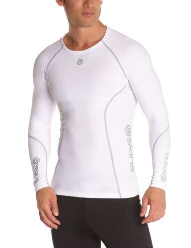 Skins A200 Men's Long Sleeve Compression Top, Small, White by Skins (Image #1)