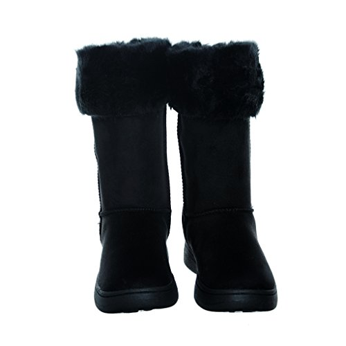shoewhatever Womens Fur Lined Shearling Warm Mid-Calf Microfiber Winter Boots Blkfs15 plG2nt
