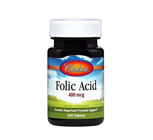 Carlson Labs Folic Acid 400mcg Tablets, 300 Count