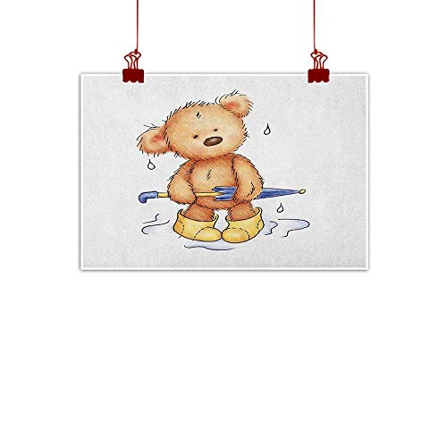 (Simple Life Minimalist Bear,Teddy Bear Caught up in Rain with Rubber Boots Holding an Umbrella Cartoon, Sand Brown Yellow Blue 36