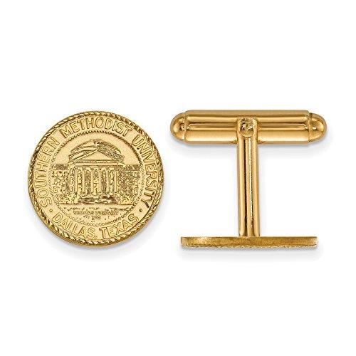 Southern Methodist Crest Cuff Links (14k Yellow Gold) by LogoArt