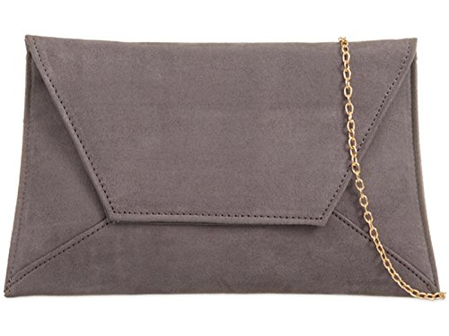 ZES Plain Suede Bridal Wedding Ladies Party Prom Evening Clutch Hand Bag Purse Grey