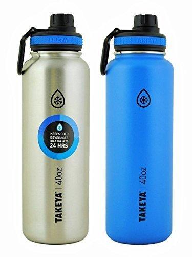 Takeya thermoflask 2Pack 40oz, Azul/Plateado