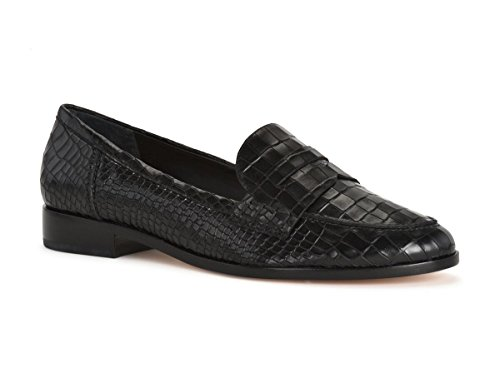 SCHUTZ Dora Black Shiny Croco Embossed Leather Flat Penny Almond Toe Loafer (6)