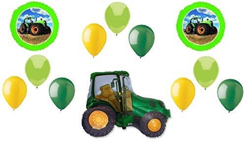 John Deere Mylar Balloon - TRACTOR Shape John DEERE Green Yellow FARM Barn (12) MYLAR & Latex Balloon Set C, (1) 66' Roll of Curling Balloon Ribbon in a coordinating color