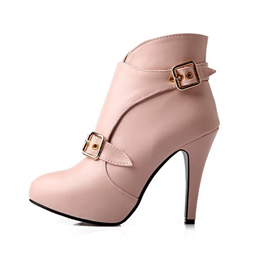 Heels Solid Low Pink Soft High Boots Women's Buckle AgooLar Material Top B4qHEXw