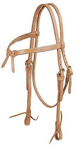 TORY LEATHER Single Ply Brow Knot Headstall - Tie Ends - Harness Leather ()