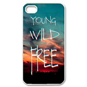 New Fashion Cover Case for iPhone 4,4S with custom Young, wild & free