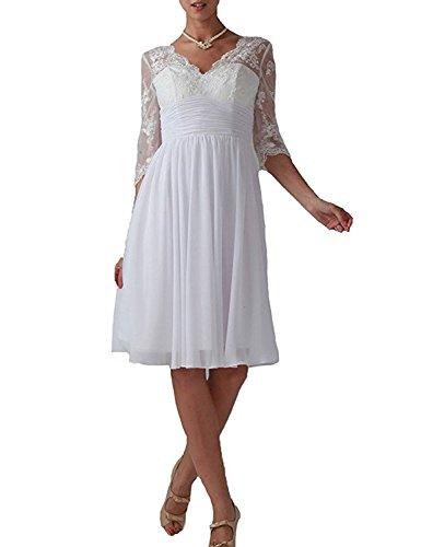 Knielang Braut A Elegant Weiss Rock Abendkleider mia Abschlussballkleider Linie La Spitze Promkleider Ballkleider Langarm mit Zq5wzEnv