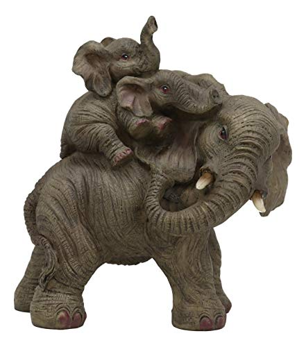 Ebros Small Wildlife Elephant Father and 2 Calves On Piggyback Playing Statue 5.25