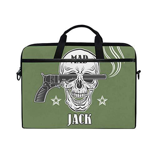 (COVASA Revolver Skull Laptop Bag Canvas Messenger Shoulder Bag Briefcase Fits 15-15.4 inch)