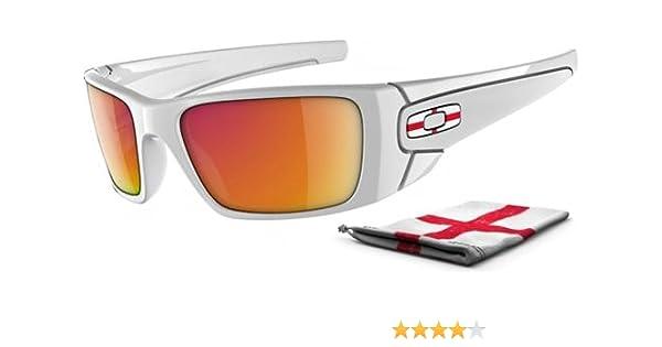 00fb9a66347 Amazon.com  Oakley Men s Country Flag Fuel Cell Sunglasses  (England Polished White Frame Ruby Iridium Lens)  Shoes