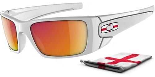 Ruby Iridium Lens (Oakley Men's Country Flag Fuel Cell Sunglasses (England/Polished White Frame/Ruby Iridium)
